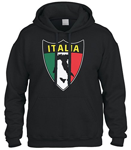 Cybertela Italian Italy Italia Shield Flag Sweatshirt Hoodie Hoody (Black, X-Large)