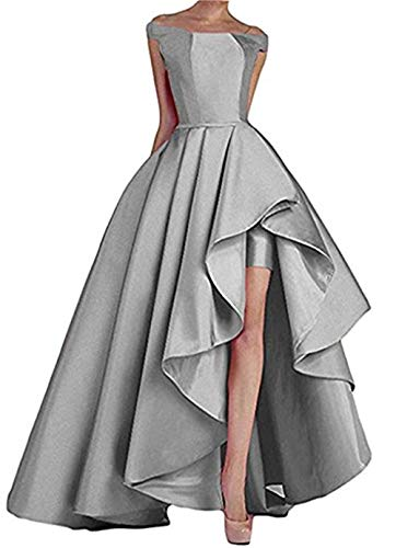 Homdor High Low Off The Shoulder Prom Dresses Long Satin Evening Formal Gowns