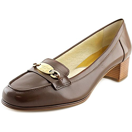 (Michael Kors Michael Lainey Kitten Heel Loafers Dark Caramel (8) )