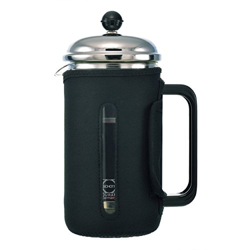 GROSCHE Fino 34 oz. 1000ml Glass French Press with Thermal Insulated Neoprene Sleeve for Warmth and Protection. INCLUDES 1 REPLACEMENT MESH FILTER SCREEN FREE!!