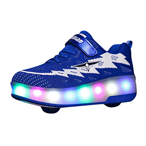MIS1950s Rechargeable Kids Light Up Flashing Roller Skate Shoes Teen Double Wheel Shoes Sport Sneaker (Gas Toothbrush Powered)