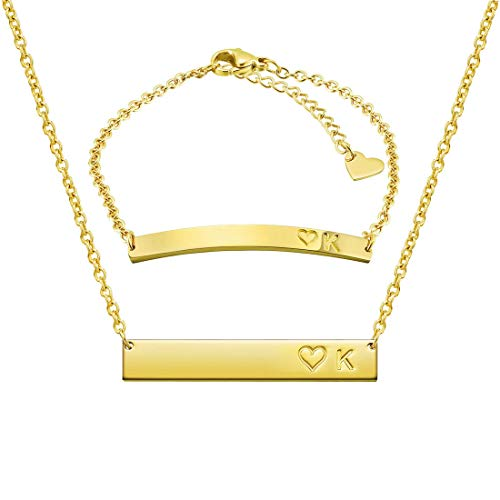 THREE KEYS JEWELRY Initial K Necklace Alphabet Bracelet Suit 316L Stainless Steel Gold Tone Bar Pendant Heart with Chocker Letter Jewelry for Women Men and Girls ST-G-K