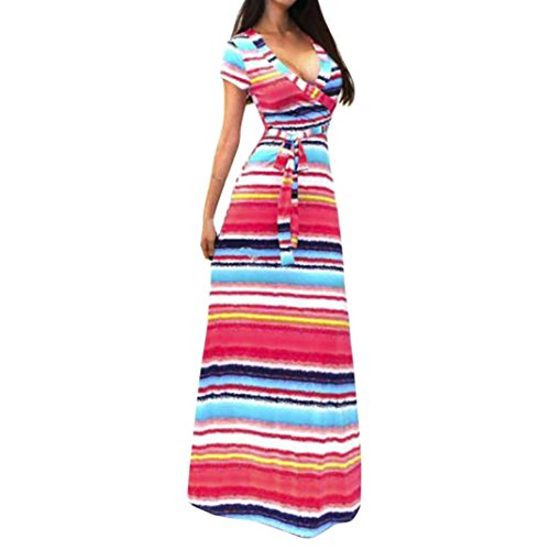 ral Printed Casual Boho Maxi Dress Beach Long Dress ()