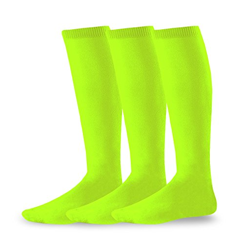 Soxnet Acrylic Unisex Soccer Sports Team Cushion Socks 3 Pack (Medium (9-11), Neon Green)