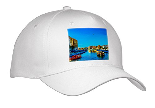 3dRose Alexis Photo-Art - Moscow City - Moscow Digital Art - Bypass Canal Of The Moscow River In Summer Day - Caps - Adult Baseball Cap (River City Cap)