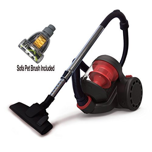RACEUP Canister Vacuum Cleaner Cyclonic Bagless With HEPA Filter And Clean Air Filtration – Corded (CJ1150) (Red)