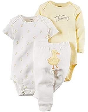 Yellow 3 Piece Duck Pant Set Newborn