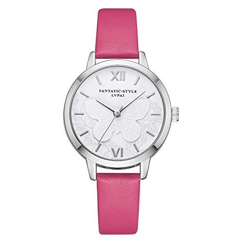 Leather Emboss Band Watch - Mike Franklins Lvpai 3D Emboss Casual Quartz Leather Band Watch Analog Wrist Watch (Hot Pink)