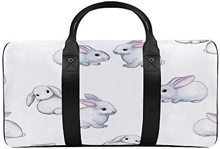 白いパターンベースの小さなウサギ1 旅行バッグナイロンハンドバッグ大容量軽量多機能荷物ポーチフィットネスバッグユニセックス旅行ビジネス通勤旅行スーツケースポーチ収納バッグ