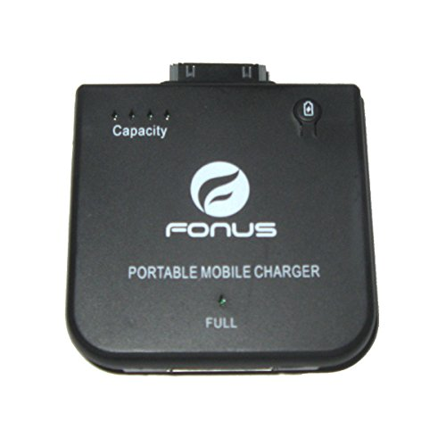 Fonus Brand High Quality (1900mAh) Battery Charger Portable External Power Pack Black for for iPhone 3G, 3GS, 4, Ipod Nano 6th, 5th, 4th, 3rd, 2nd, 1st Gen, Ipod Touch 4th, 3rd, 2nd, 1st Gen, Ipod, Ipod Mini ()