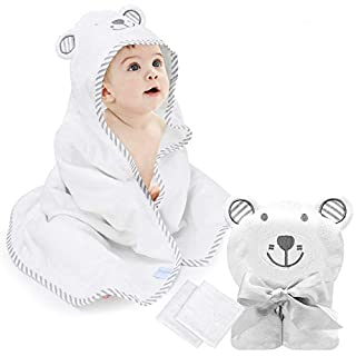 "eccomum Baby Hooded Towel Organic Bamboo Baby Bath Towels for Toddlers, Ultra Soft, Super Absorbent Thick, Large 35"" x 35"", Cute Ear Design, 2 Washcloth, Perfect Baby Shower for Boys and Girls"
