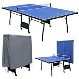 hj Indoor Full Size Blue Table Tennis Table Folding Ping Pong Table with Waterproof Zipper Cover For...