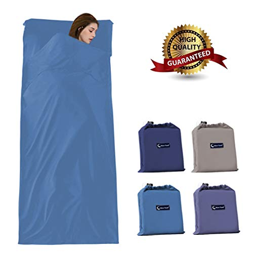 Outdoor Sleeping Bag Liner, Cotton Travel Camping Sheet, Portable Envelope Ultralight Single Adult Sleep Sack for Picnic Hiking Hotel(Blue)