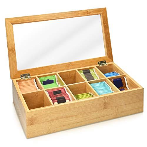 Navaris Caja de Madera para bolsitas de te - Caja organizadora de bambu para infusiones - Caja con Tapa - 10 Compartimentos - Ventana Transparente
