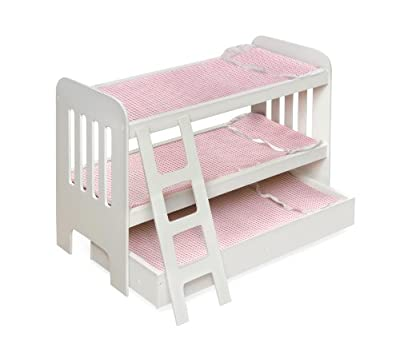 Badger Basket Trundle Doll Bunk Beds With Ladder - Pinkwhite by Badger Basket