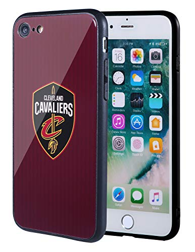 The Mass iPhone 8 case, iPhone 7 case, NBA Team Logo on Tempered Glass Back Cover and Soft TPU Frame for Apple iPhone 8/7 (Cleveland Cavaliers, 4.7 inch) Cleveland Cavaliers Nba Pattern
