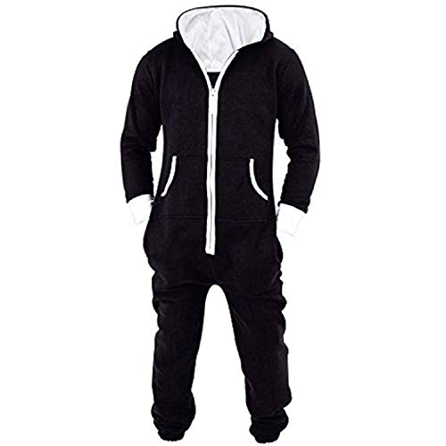 Lu's Chic Men's Hooded Onesie Union Suit Non Footed Warm Zipper Long Playsuit Pajama Jumpsuit Black US M (Tag2XL) -
