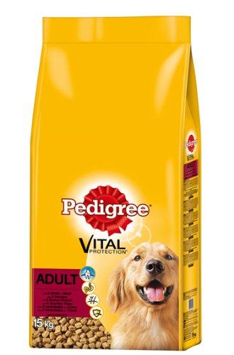 Pedigree Adult Hundefutter 5 Sorten Fleisch und Gemüse, 1 Packung (1 x 15 kg)