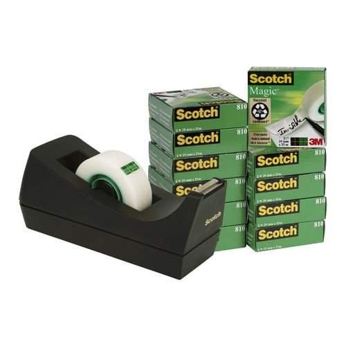 Scotch Magic Tape 12 Jumbo Rolls with Bonus Refillable Desktop Dispenser, Black
