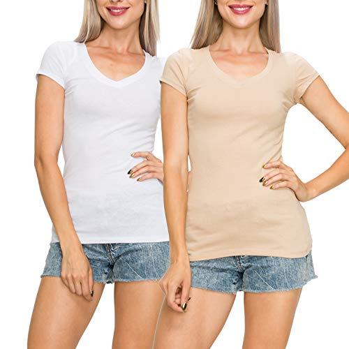 EttelLut Casual Basic Plain Short Sleeve Cotton V Neck Top T Shirts Pack White Khaki XL