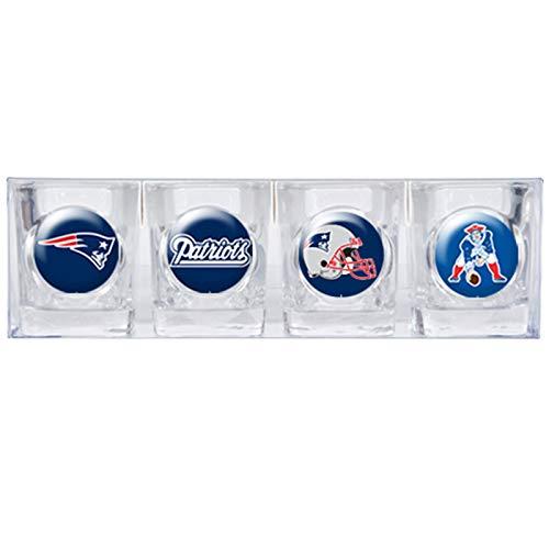 New England Patriots 4 Piece Shot Glass Set w/Individual Logos (New England Sports Shot Glasses)