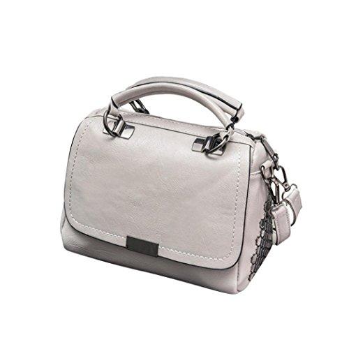 SALLYDREAM Bolso de Hombro con Cadena de 4 Bolsillos para Mujer, Moderno y Elegante Gris