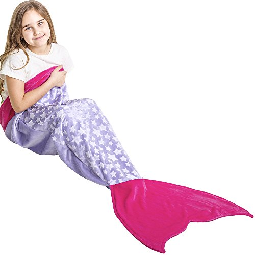 Loved Blanket Star Mermaid Tail Blanket for Girls Kids Ages 3-12 - Great Gift (Light Purple/Hot Pink) (3 Book Gift)