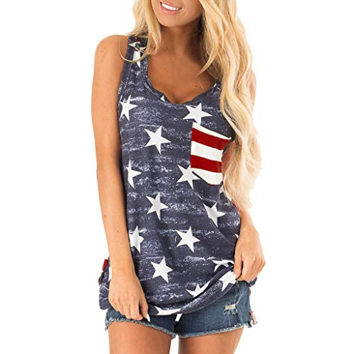 (Aunimeifly Women's Camouflage Sleeveless Vest American Independence Day Star Stripe Flag Print Tank Tops (XL, Multicolor))