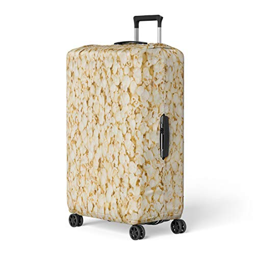 - Pinbeam Luggage Cover Yellow Butter Scattered Salted Popcorn Cafe Candy Caramel Travel Suitcase Cover Protector Baggage Case Fits 18-22 inches