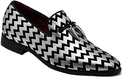 SPK22 Men's Vintage Tassel Dress Loafers Slip On Fashion Shoes Classic Tuxedo Dress Shoes (10 D(M) US, Silver)