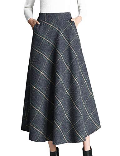 Tanming Women's Winter Warm Elastic Waist Wool Plaid A-Line Pleated Long Skirt (Blue, ()