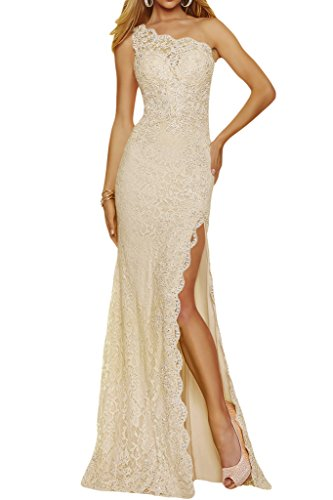 Lang Hellchampagner Damen Abendkleid Schulter Partykleid Schlitz Spitze Ein Ivydressing Promkleid WXn6q84q