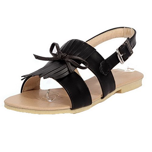 AalarDom Womens Open-Toe Low-Heels Frosted Solid Buckle Sandals Black-JIE
