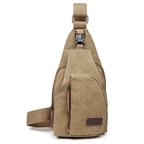 OuterStar Casual Canvas Sling Backpack Chest Bag for Men Woman (Coffee/Grey/Army Green)
