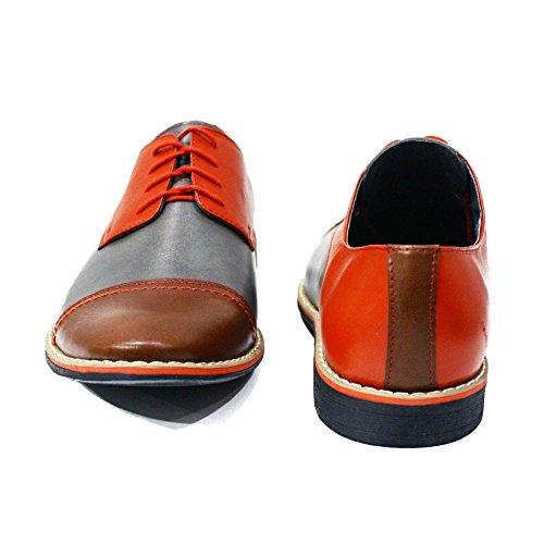 PeppeShoes Modello Anzio - Cuero Italiano Hecho A Mano Hombre Piel Vistoso Zapatos Vestir Oxfords - Cuero Cuero Suave - Encaje