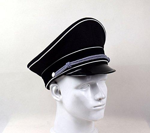 Replica WWII German Elite Officer Wool Hat Officer Cap Black (59cm)