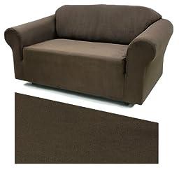 Stretch Suede Mocha Furniture Slipcover Loveseat 734