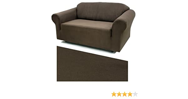 Stretch Suede Ebony Furniture Slipcover Loveseat 732