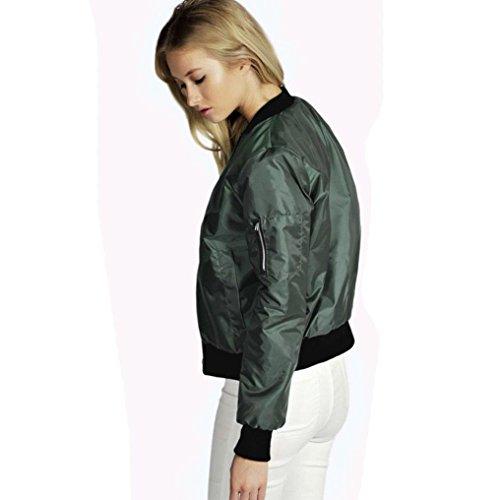 HARRYSTORE Las nuevas mujeres de la manera adelgazan la chaqueta suave del color sólido de la capa corta de la cremallera de la motocicleta del motorista Verde