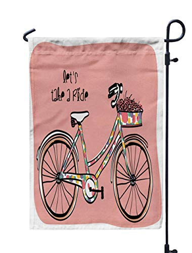 GROOTEY Welcome Outdoor Garden Flag Home Yard Decorative 12X18 Inches Vintage Bicycle Flowers Double Sided Seasonal Garden Flags]()