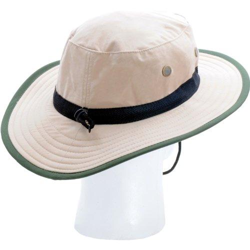 Sloggers Unisex Nylon Sun Hat, Tan with wind lanyard, - adjustable size small - large - Style 446TN - UPF 50+