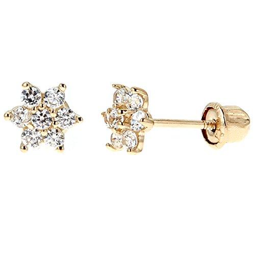 Ritastephens 14k Yellow Gold Cubic Zirconia Mini White Flower Screw Back Stud Earrings