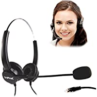 TRIPROC Binaural 4 Pin RJ9 Telephone Headset For Landline Phones