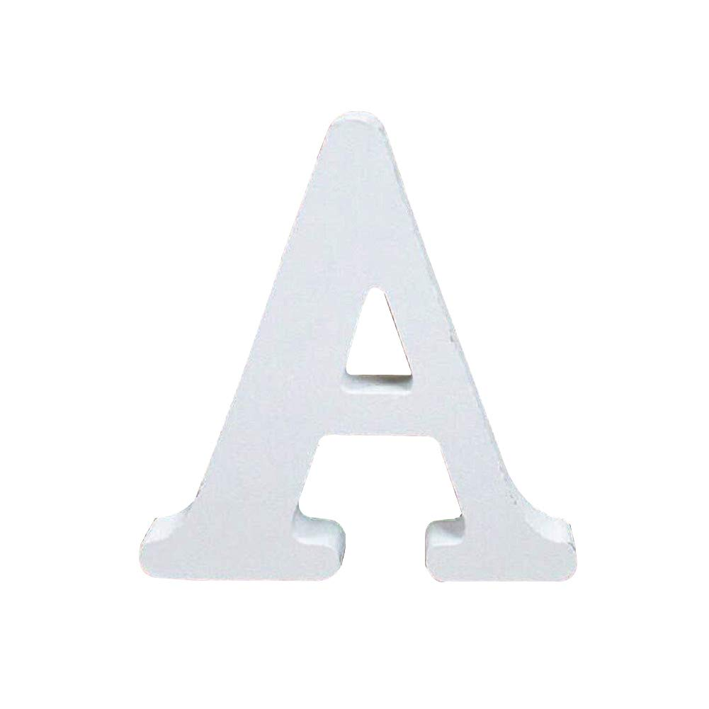 Wooden Letters, Toifucos A-Z DIY English Alphabet Craft Ornaments for Home Wedding Birthday Party Decoration Accessories, White 1 pcs A