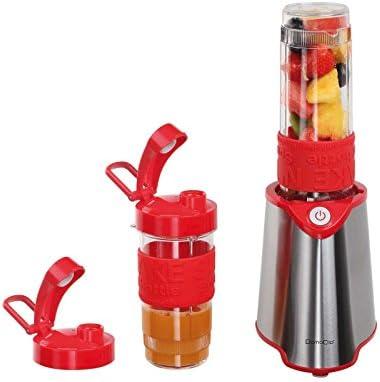 Acero inoxidable batidora con 2 botellas cierre para beber (Smoothie maker (Blender, batidora, picadora, 300 W, leche Coctelera, Rojo)