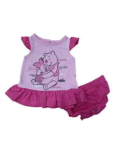Disney Infant Girls Pink Winnie The Pooh Top & Diaper Cover 2 Piece Outfit NB