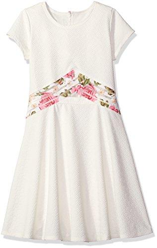 Bonnie Jean Big Girls' Fit and Flare Fashion Dress, Ivory, 7