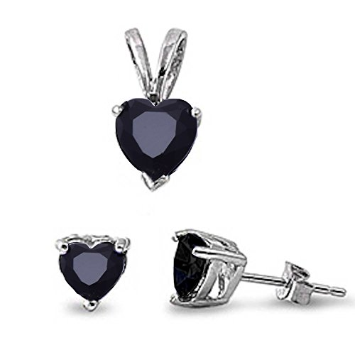 Simulated Gemstone Heart Pendant & Earring .925 Sterling Silver Set (Simulated Black Onyx)