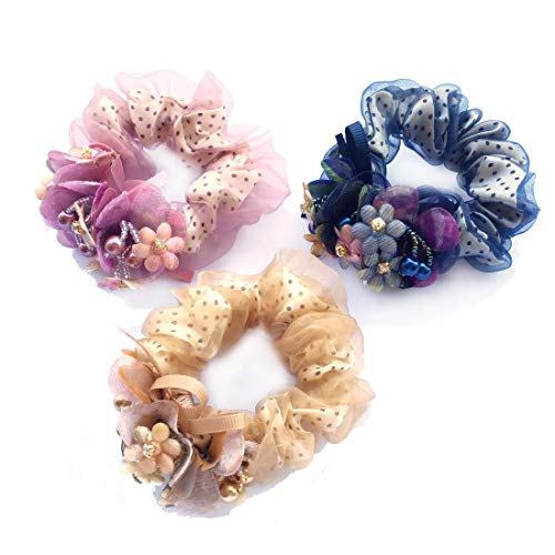 3 Pieces Pack Dots Chiffon Organza Scrunchies for Hair with Flower Bow Ribbon Handmade by Glass Pearls and Beads Elastic Scrunchy Coffee Violet Sapphire ()