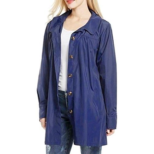 Escudo, abrigo,Internet Las señoras de manga larga impermeables impermeables al aire libre con capucha impermeable chaqueta abrigo Azul oscuro